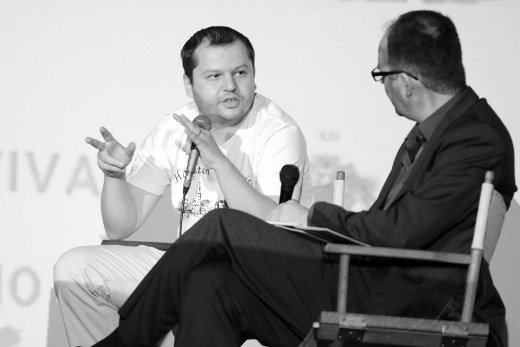 Director Corneliu Porumboiu and film critic Ian Haydn Smith discussing during the Romanian Film Festival in London